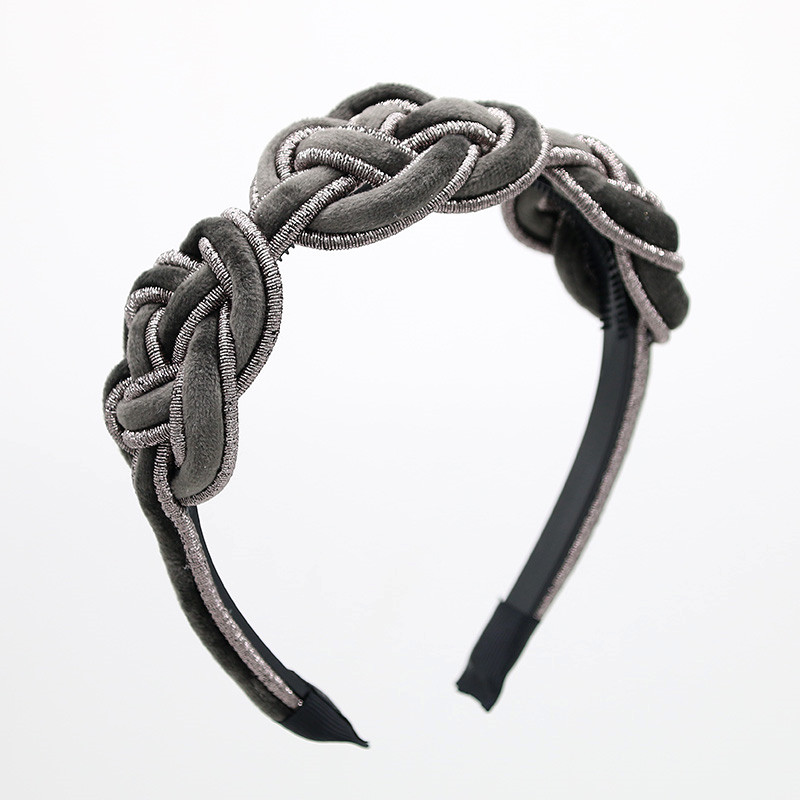 2020 B Wide Braided Velvet 3cm Wide Plain Design Hairbands Women Hair Accessories Winter Hairbands