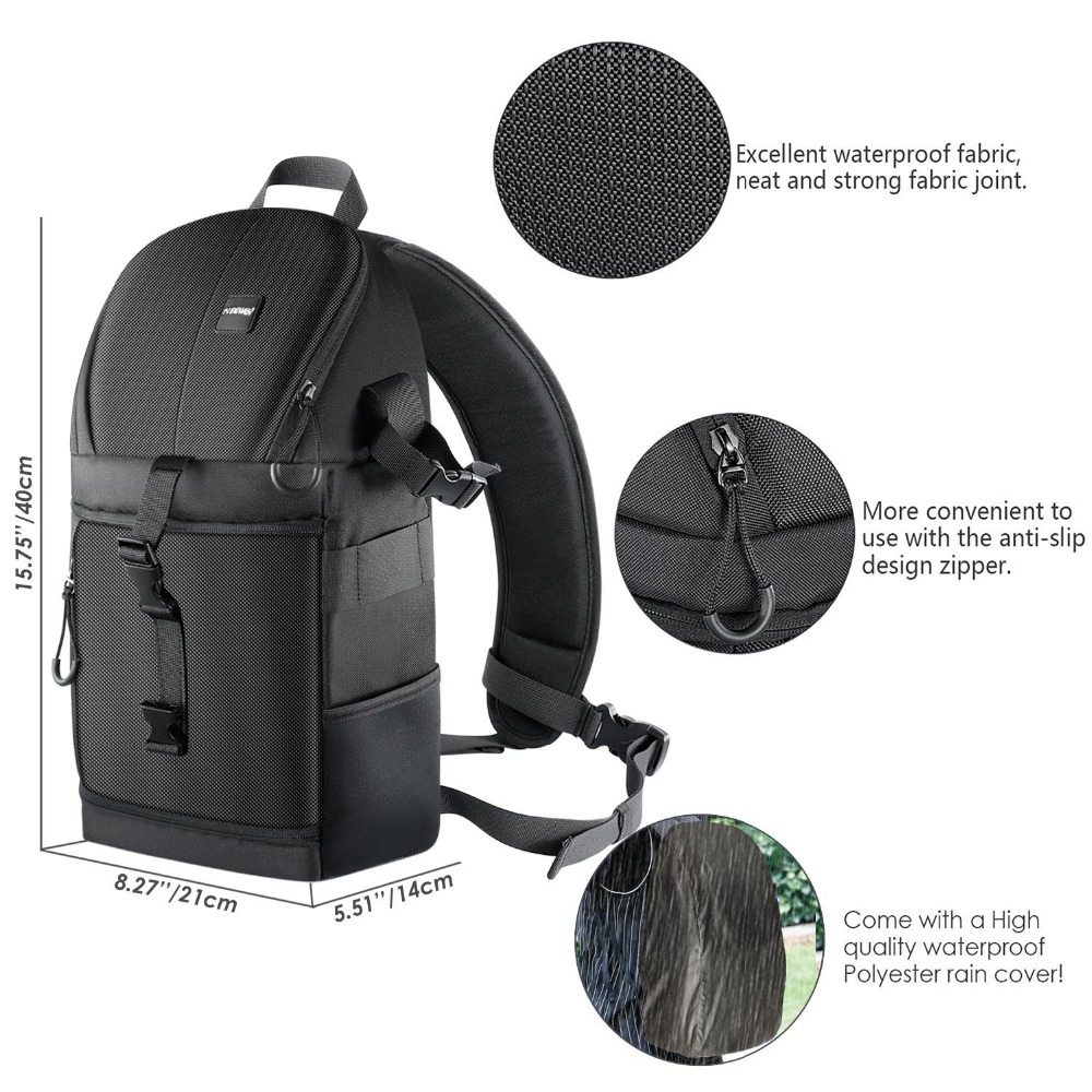 Image 5 - Neewer Professional Sling Camera Storage Bag Durable Waterproof and Tear Proof Black Carrying Backpack Case for DSLR Camera-in Camera/Video Bags from Consumer Electronics