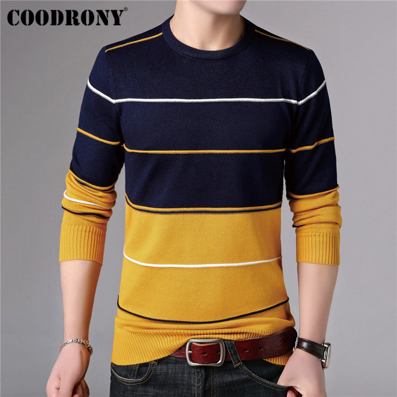 COODRONY Casual O Neck Pull Homme Cotton Sweater Men Clothes 2018 Autumn Winter Soft Wool Pullover Men Long Sleeve Knitwear B015-in Pullovers from Men's Clothing