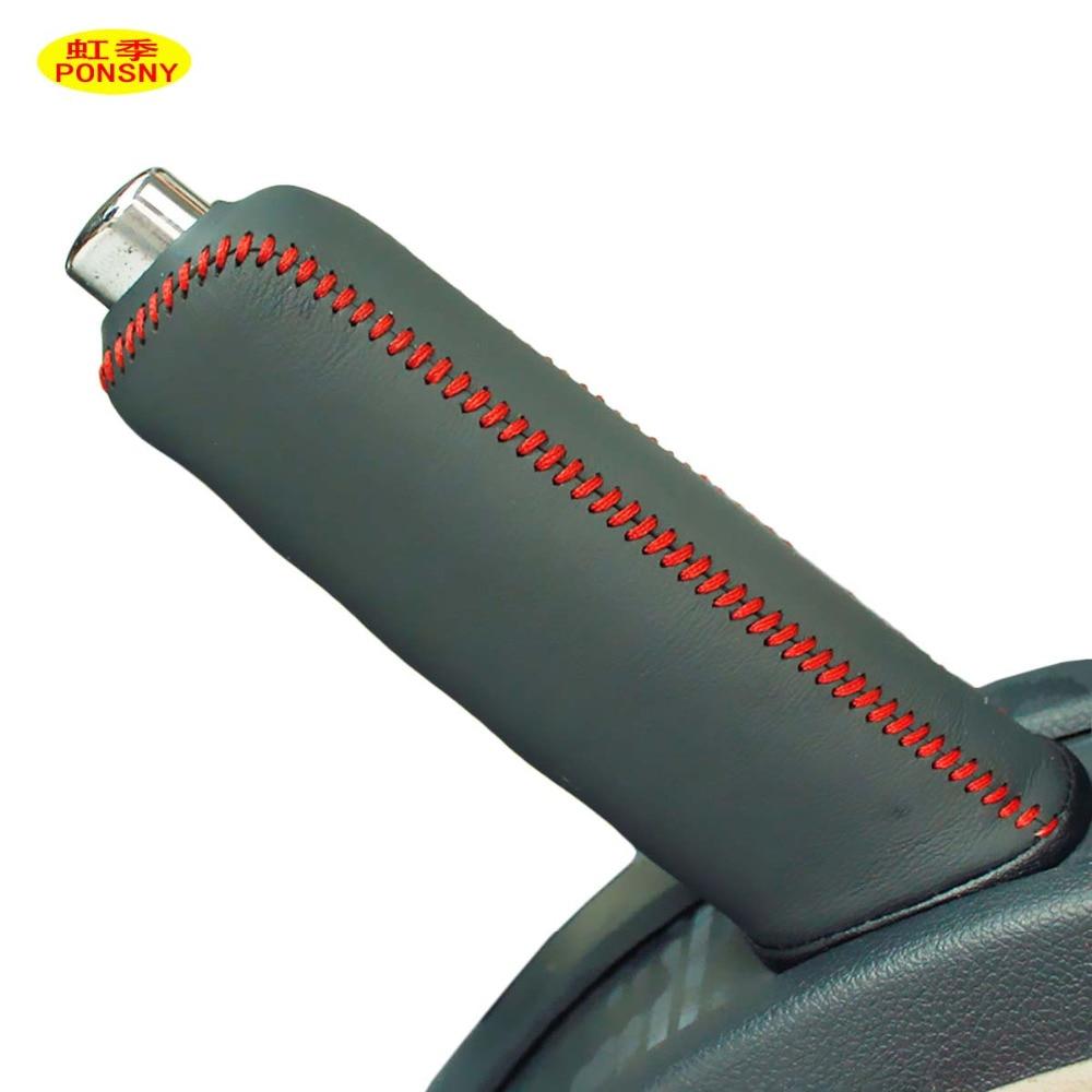 PONSNY Car Handbrake Covers Case For SKODA Octavia Superb Yeti Genuine Leather Handbrake Grips Cover Car-styling