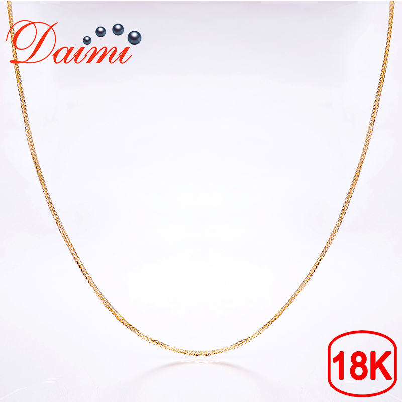 DAIMI 18K White Gold Mixed Color Gold Chain 2.1g Pure Gold Necklace Chain 40cm Necklace Chain Wendding Party Gift yoursfs heart necklace for mother s day with round austria crystal gift 18k white gold plated