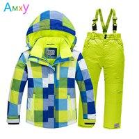 ספורטיבי ילדי שלג חליפת סקי מעיל צמר עבה חורף בגדי ילדי סט בנות + מכנסיים סינר מעיל חסין לרוח חם עבור בני 4-16 T