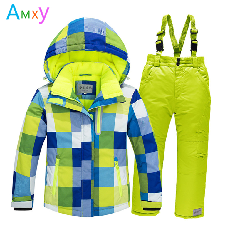 Kids Sporty Snow Ski Suit Winter Children Clothing Set Girls Thick Fleece Jacket+Bib Pants Warm Windproof Coat For Boys 4-16T