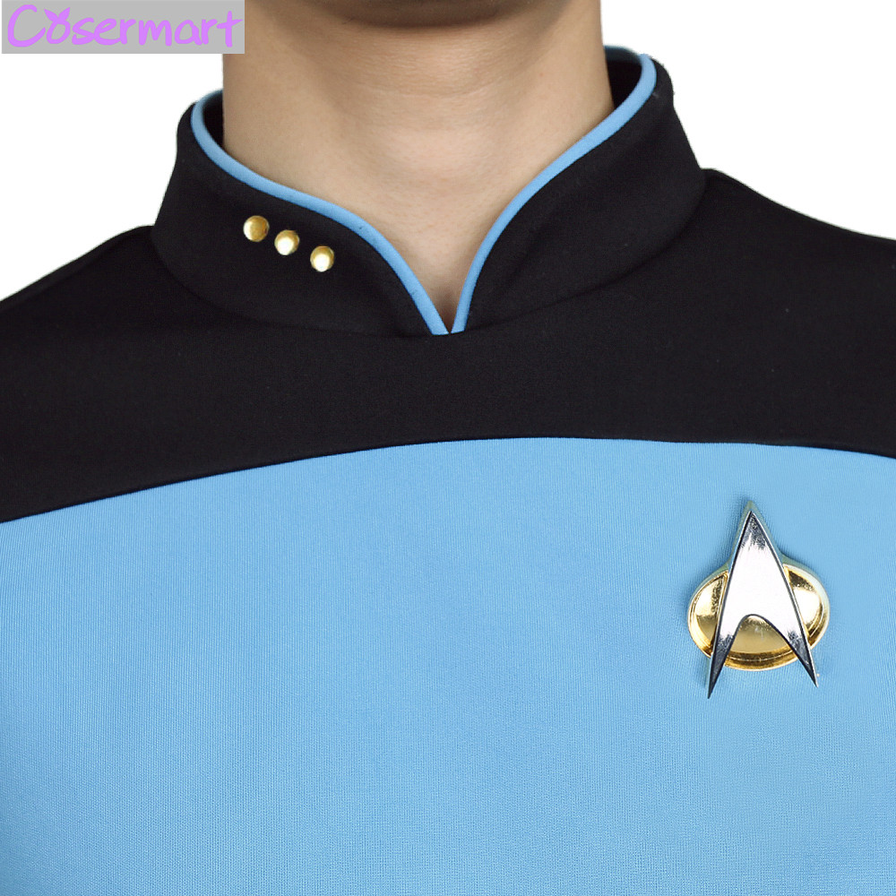 Star Trek TNG The Next Generation Red Yellow Blue Shirt Uniform Cosplay Costume For Men Coat Halloween Party (5)