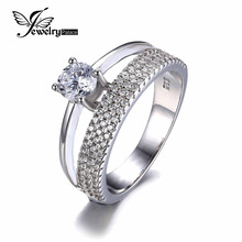 JewelryPalace zero.9ct Cubic Zirconia Anniversary Marriage ceremony Band Engagement Ring Set Guard Enhancer Pure 925 Sterling Silver Jewellery