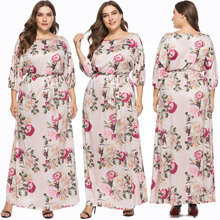 Women Large Size Print Flower Pink Swing Maxi Dresses O Neck Elastic Sashes Ethnic Loose Casual Gown Dress Summer For Lady 2019 casual u neck ethnic print racerback top for women