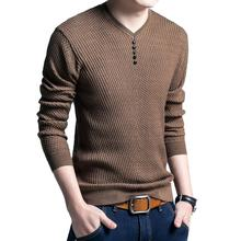 Puimentiua Sweater Mens Casual V-Neck Pullover Men Autumn Slim Fit Long Sleeve Shirt Sweaters Knitted Cashmere Wool Pull Homme(China)