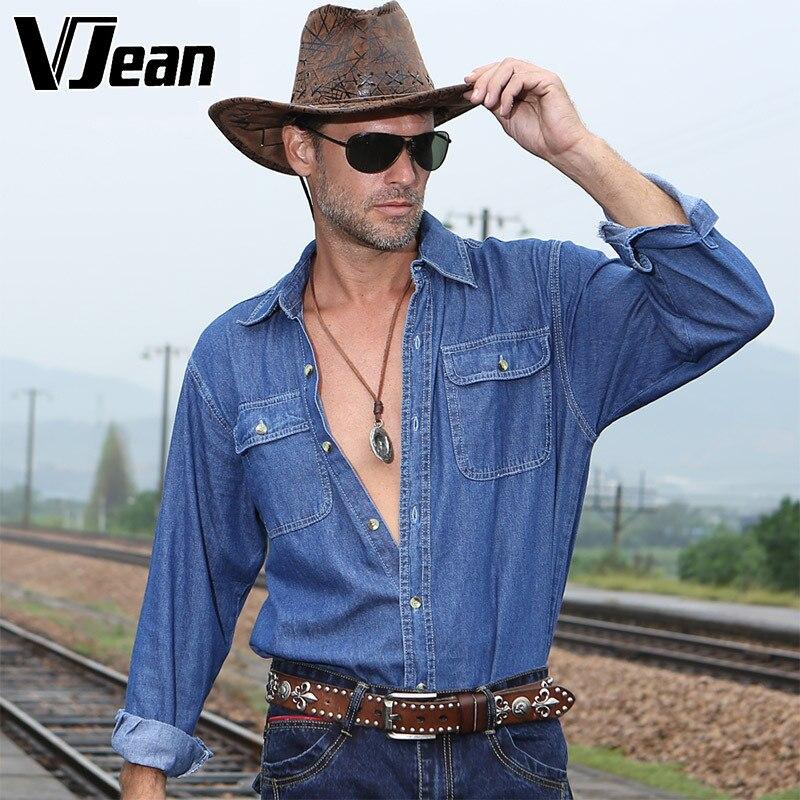 V JEAN font b Men s b font Loose Fit Western Cowboy font b Shirt b