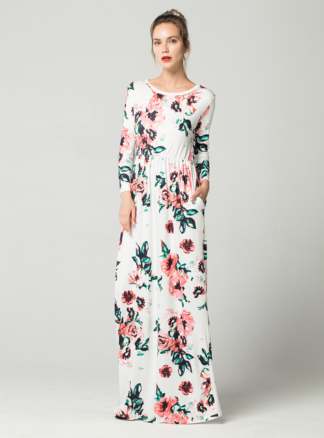 Long Sleeve Floral Maxi Beach Dress