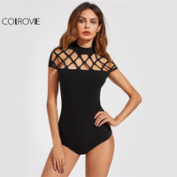 COLROVIE Square Cut Out Sexy Bodysuit Women Black Mock Neck Slim Summer Bodysuits 2017 Cap Sleeve