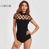 COLROVIE Square Cut Out Sexy Bodysuit Women Black Mock Neck Slim Summer Bodysuits 2017 Cap Sleeve