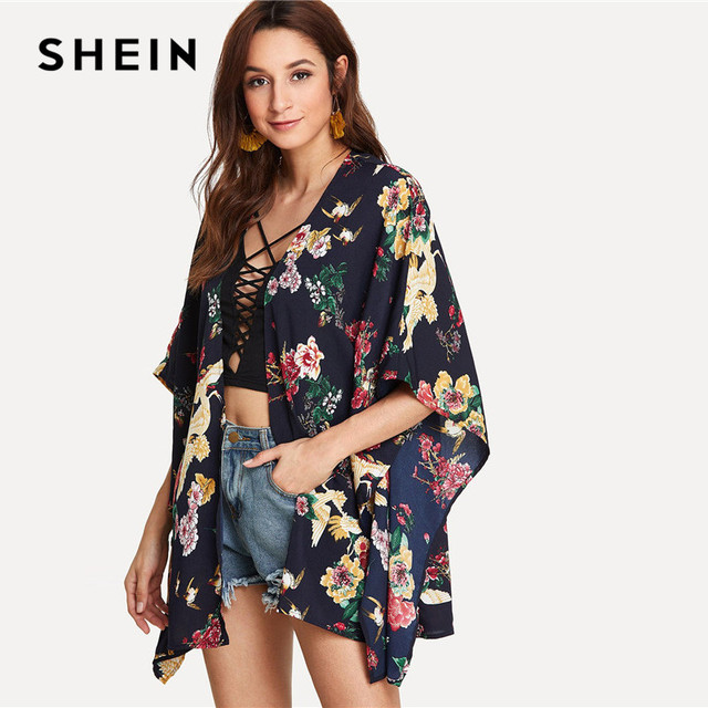 2753ff03ca SHEIN Boho Bohemian Vacation Women Tops and Blouses Kimono Cardigan Vintage  Summer Dolman Sleeve Floral Print Casual Kimono