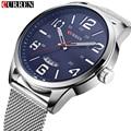 Curren Fashion Brand Luxury Analog Date Men's Quartz Watch Casual Watches Men Wristwatch Stainless Steel Strap Silver Mesh Band