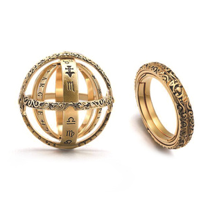 Creative Astronomical Sphere Ball Rings Universe Complex Rotating Clamshell Couple Lover Women Ring Germany Gold Jewelry Gifts