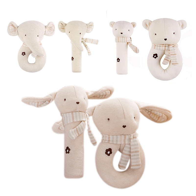 2 PCS Baby Rattle Cartoon Cute Set Baby Comfort Toy Cotton Plush Rattle Set Trolley Acce ...