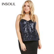 INSOUL Plus Size 2017 New Fashion Women Clothing Casual Backless Blingbling Tops Sexy Big Large Size Camisole 3XL 4XL 5XL 6XL