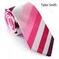 Sastre Smith Nuevo Mens de Lujo Accesorio 100% Microfibra Tejido Jacquard A Rayas Corbata Skinny Moda Vestido de Fiesta Informal Delgado Lazo