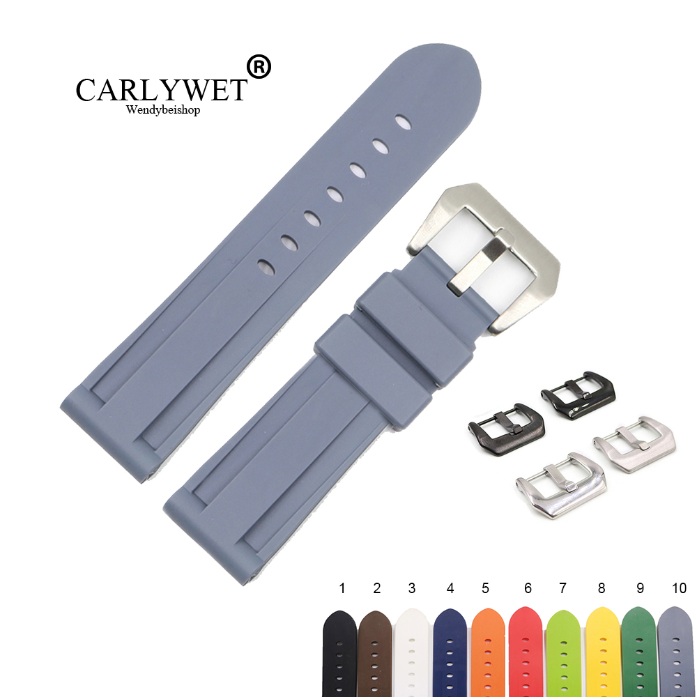 CARLYWET 22 24mm Hot Sell Grey White Black Brown Waterproof Silicone Rubber Replacement Watch Band Strap For Panerai Luminor(China)