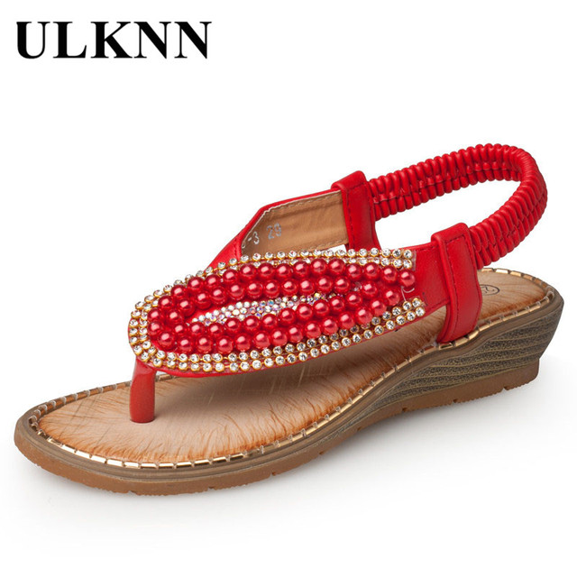 2e2f9ed2ee7 ULKNN Kids Shoes For Girls Sandals Children red Pearl Beading wedges beach  Sandals Enfants School Shoe