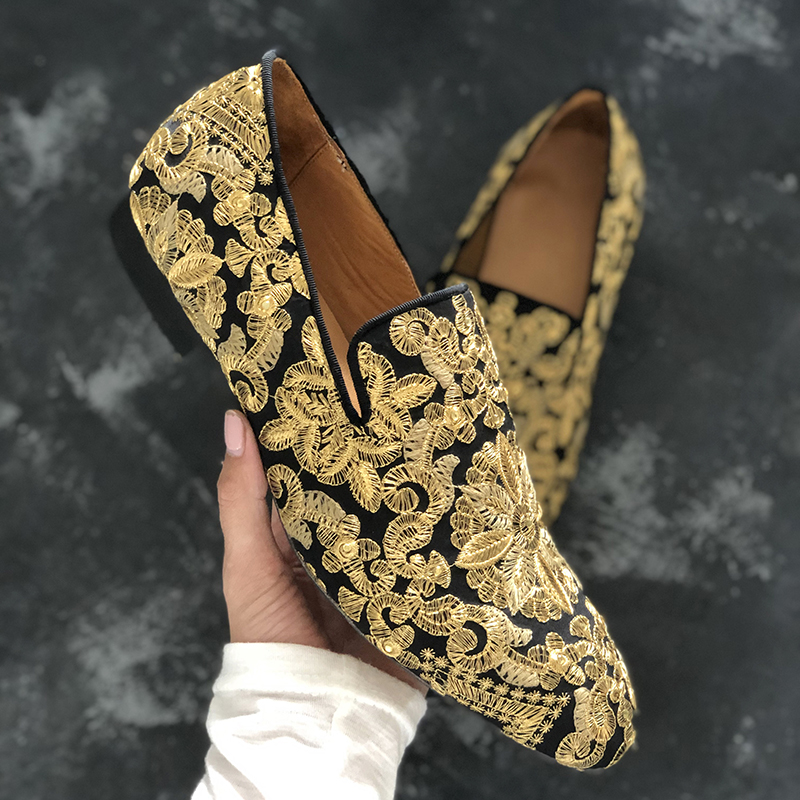 2019 Fashion Embroidery Shoes Men Round Toe Gold Flower Flat Shoes For Man Party Shoes-in Formal Shoes from Shoes    2