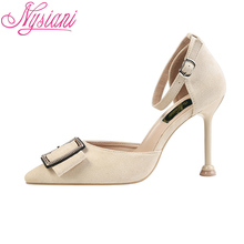 2019 Pointed Toe High Heels Sandals Brand Designer Metal Decoration Party Buckle Strap Fashion Sexy Thin Nysiani