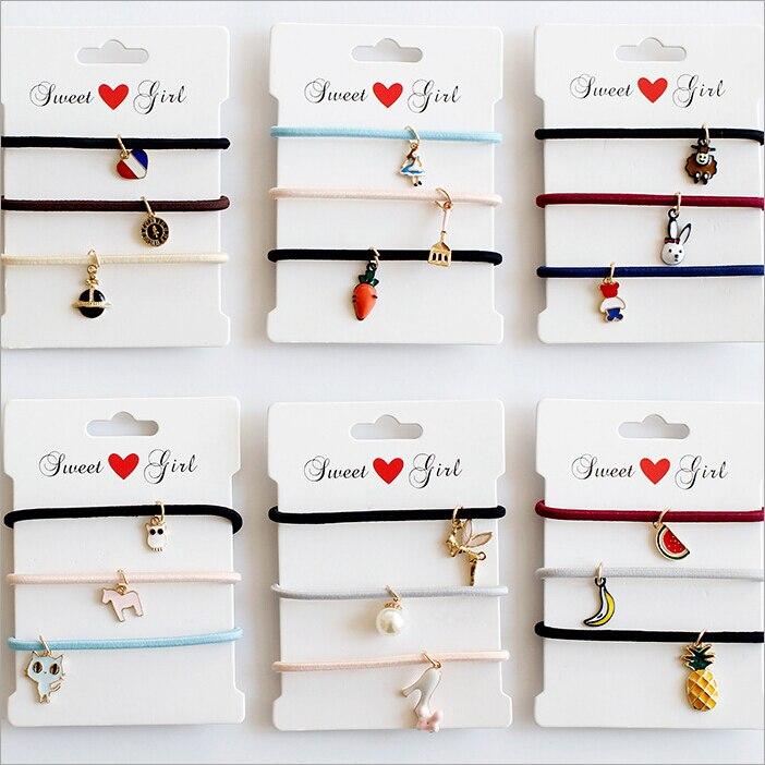 korean small pendant hair rope ties women girls elastic hair rubber bands ring accessories headdress   headwear   scrunchy Bracelet