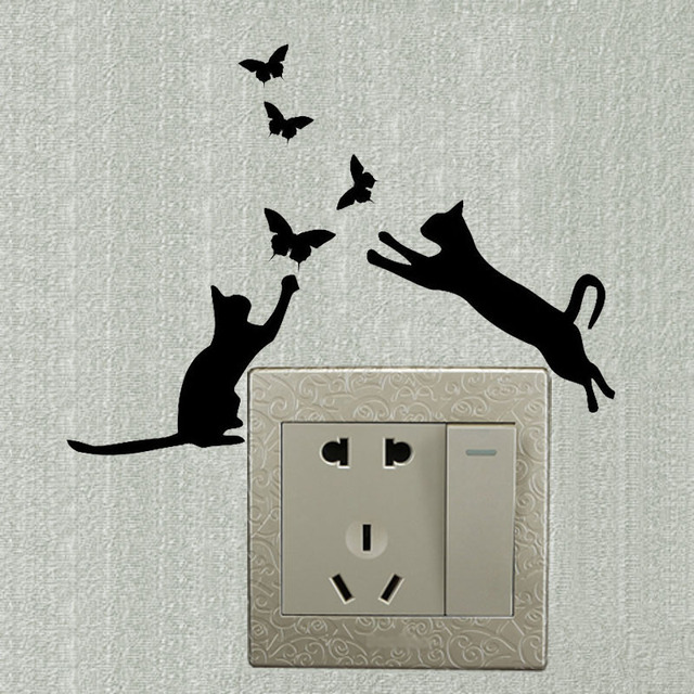cat butterfly vinyl animal switch decals funny decoration wall