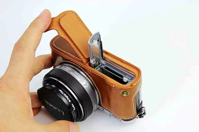 Fashional Camera Bag Bottom Case For Panasonic GF7 GF8 PU Leather Half Body Set Cover With Battery Opening