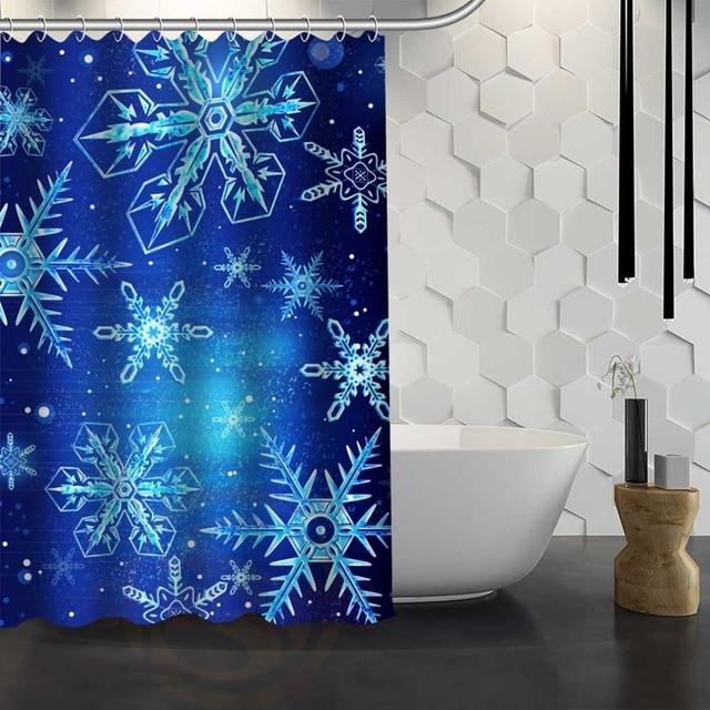 Hot Sale Custom Snowflakes Shower Curtain Waterproof Fabric Shower Curtain  For Bathroom F#Y1