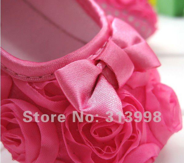 Ffree shipping Size 13 cm Mary Jane Infant Baby  First Walker Shoes Girls Toddler dress soft sole Rose Pink flower 36PKPS