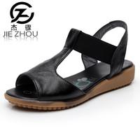 Female Summer Shoes White Black Large Size Sandals Genuine Leather Flat Bottom Simple Nurse Shoes Dermis