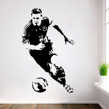 POOMOO Wall Stickers New Caved Football Player Lionel Messi Wall Stickers Football Star Poster Decals tanie tanio Modern Plane Wall Sticker PORTRAIT For Wall Furniture Stickers Floor Stickers For Tile For Smoke Exhaust Window Stickers