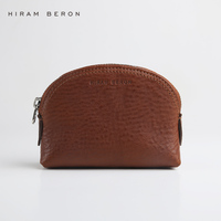Hiram Beron Women Coin Purse Solid Leather Coin Wallet Free Custom Zipper Pouch Vegetable Tanned Leather Large Capacity Purse