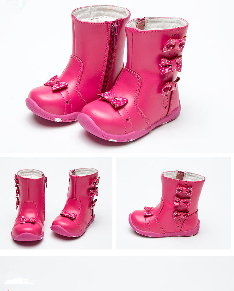 Winter warm 1pair Children girl Genuine Leather Snow Boot,New Girl lovely kids Fashion Boot цена