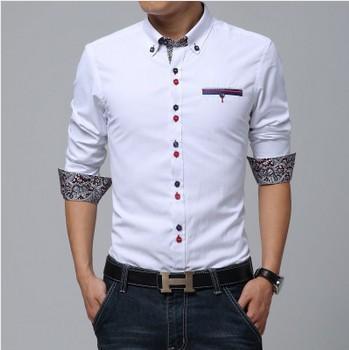 2016 CALIENTE!! botón de la personalidad Vestido de la marca slim fit diseñador camisas sport de los hombres blanco/azul de Moda de ropa de Alta calidad