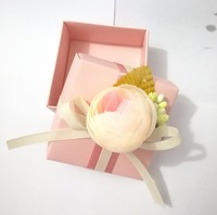 10pcs Pink Paper Candy Box With Cloth Ribbon Flower As Promotional Event Gifts Box Or Party