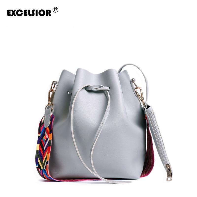 EXCELSIOR Venta caliente de alta calidad de la PU de cuero de las mujeres del nuevo bolso de cubo bolsa de mensajero bolsas con colorido Correa G2091