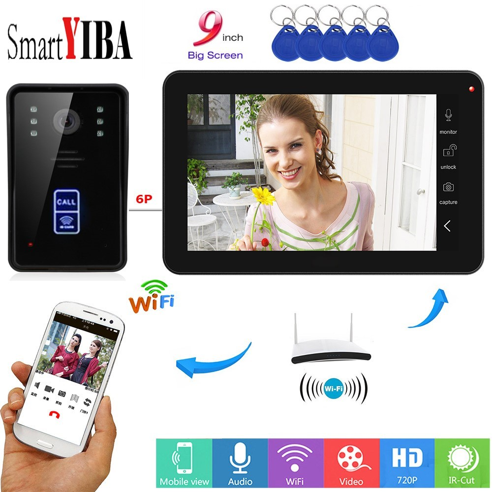 SmartYIBA Apartment Intercom 9 Inch Wired Wifi RFID Card Visual Doorbell Door Phone Intercom System Remote APP intercom unlockSmartYIBA Apartment Intercom 9 Inch Wired Wifi RFID Card Visual Doorbell Door Phone Intercom System Remote APP intercom unlock