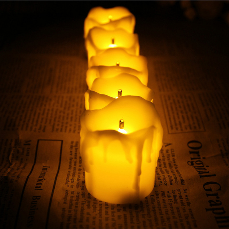 Set Of 12 Amber Flameless Led Candles With Timer Flameless