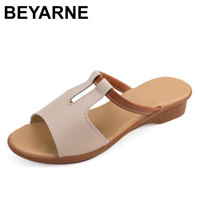BEYARNE Women Shoes Flat-Sandals Slip-On Genuine-Leather Heel Female Casual Fashion