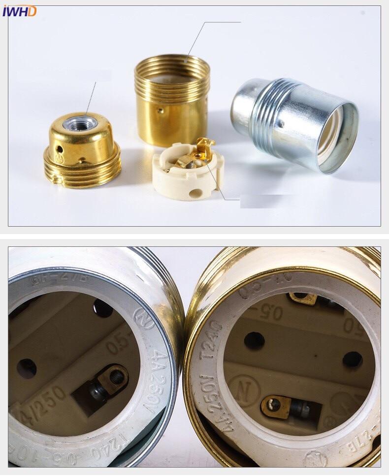 IWHD E14 патрон E27 светильник держатель лампы Douille Portalamparas винтажный Ретро патрон E27 патрон цоколь UL CE Homekit