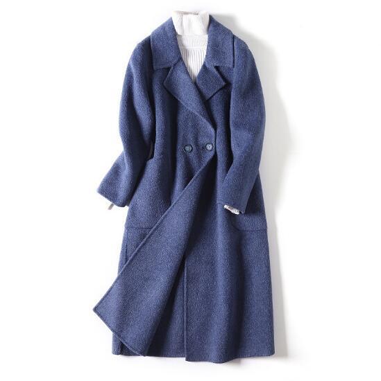 Outwear Tweed Hiver Bureau Nouveau Bleu rose Longue Beige De Dame Au Travail Vêtements Mode Porter Femmes Manteaux Automne Pardessus Laine 2018 Cape Printemps Yf6by7vg