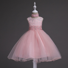 New Children's Wedding Dresses Pure Color Sleeveless Hollow-out Lacquer Screen Festival Show Summer Style недорго, оригинальная цена