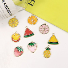 2018 wholesale fun strawberry watermelon lemon pendant  fashion cute fruit pineapple earrings for woman diy jewelry accessories