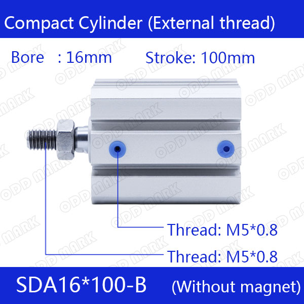 SDA16*100-B Free shipping 16mm Bore 100mm Stroke External thread Compact Air Cylinders Dual Action Air Pneumatic Cylinder