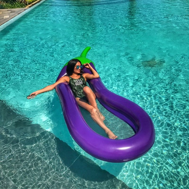 Inflatable eggplant Pool float summer women floating bed Pool party Swimming ring Liferaft eggplant Inflatable float water mount giant pool float shells inflatable in water floating row pearl ball scallop aqua loungers floating air mattress donuts swim ring