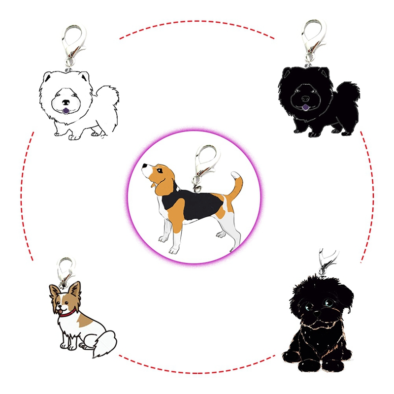 French Bulldog German Shepherd Dog Keychain Key Rings Pet Identity Tag ID Card hanging Accessory Collar Mini Pet Pendant
