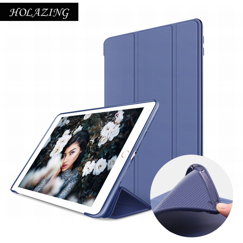 HOLAZING Ultra Thin Smart Magnet Sleep Cover for iPad Air PU Leather+Silicone Back Case For iPad 5 nice soft silicone back magnetic smart pu leather case for apple 2017 ipad air 1 cover new slim thin flip tpu protective case