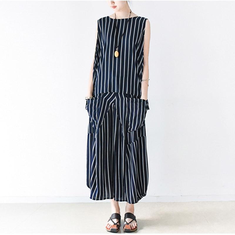 2016 Summer Hot Sale Women Two Piece Set Casual Stripe Cotton Women Set Plus Size Women