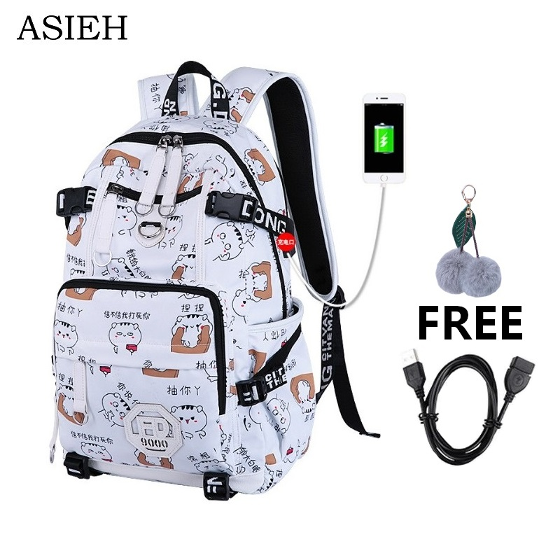 USB Charge school bag for Teenage Girl Schoolbag Feminine Women school bag waterproof Backpack Female Bag randoseru schoolbag